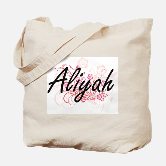 Aliyah Artistic Name Design with Flowers Tote Bag