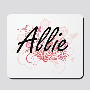 Allie Artistic Name Design with Flowers Mousepad