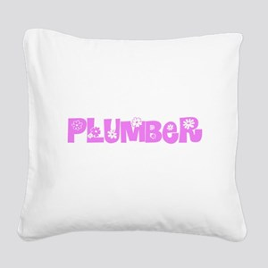 Plumber Pink Flower Design Square Canvas Pillow