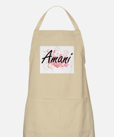 Amani Artistic Name Design with Flowers Apron