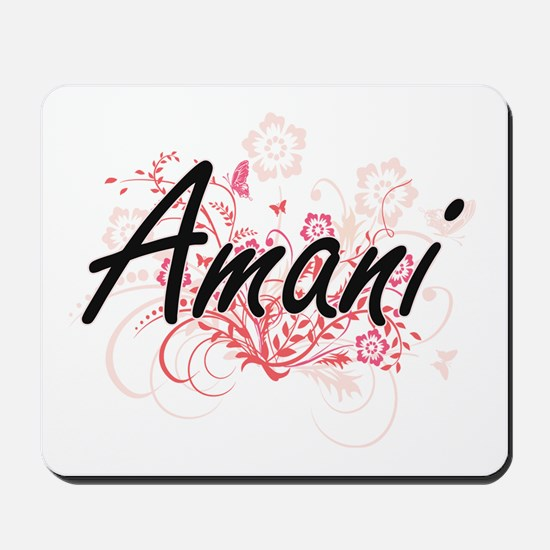 Amani Artistic Name Design with Flowers Mousepad