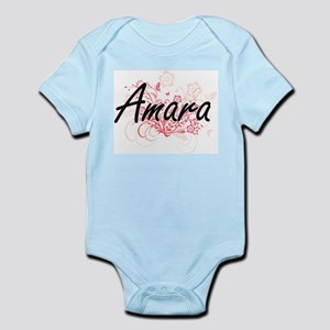 Amara Artistic Name Design with Flowers Body Suit