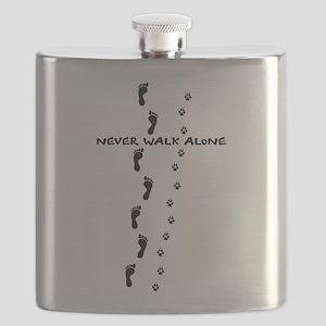never walk alone dog human paw footprints Flask
