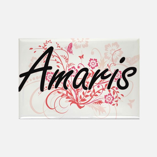 Amaris Artistic Name Design with Flowers Magnets