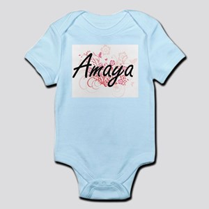 Amaya Artistic Name Design with Flowers Body Suit