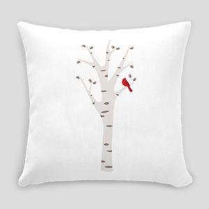 Winter Birch Tree Cardinal Bird Everyday Pillow