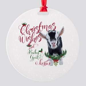Christmas Wishes Baby Goat Kisses - Round Ornament