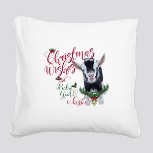 Christmas Wishes Baby Goat Ki Square Canvas Pillow
