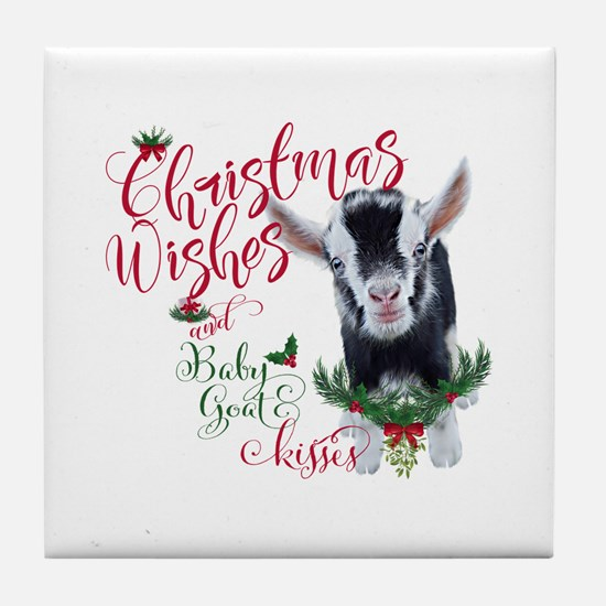 Christmas Wishes Baby Goat Kisses - P Tile Coaster