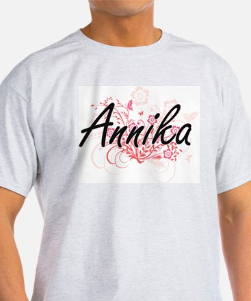 Annika Artistic Name Design with Flowers T-Shirt