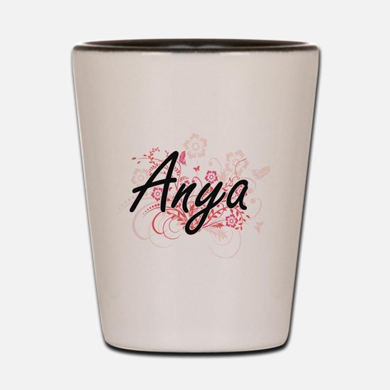 Anya Artistic Name Design with Flowers Shot Glass