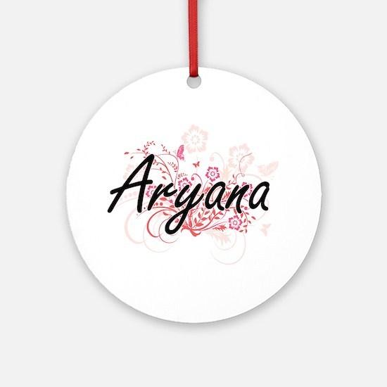 Aryana Artistic Name Design with Fl Round Ornament