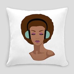 Woman In Headphones Everyday Pillow