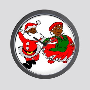 black santa mrs claus Wall Clock