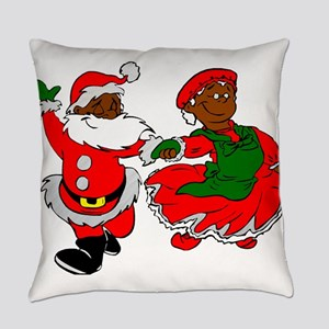 black santa mrs claus Everyday Pillow