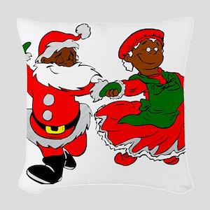 black santa mrs claus Woven Throw Pillow