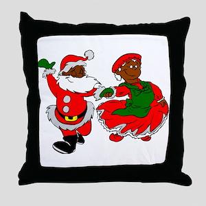 black santa mrs claus Throw Pillow