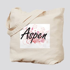 Aspen Artistic Name Design with Flowers Tote Bag