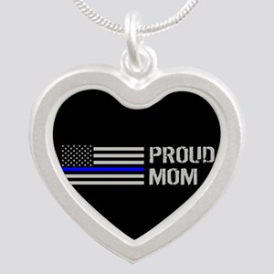 Police: Proud Mom Silver Heart Necklace