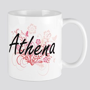Athena Artistic Name Design with Flowers Mugs