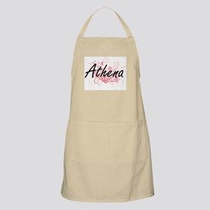 Athena Artistic Name Design with Flowers Apron