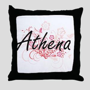 Athena Artistic Name Design with Flow Throw Pillow