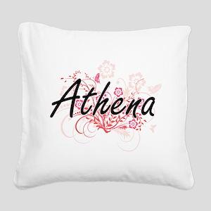 Athena Artistic Name Design w Square Canvas Pillow