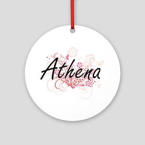 Athena Artistic Name Design with Fl Round Ornament