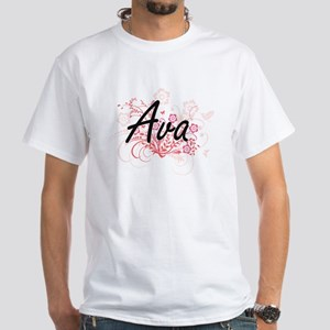 Ava Artistic Name Design with Flowers T-Shirt