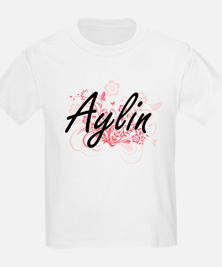 Aylin Artistic Name Design with Flowers T-Shirt