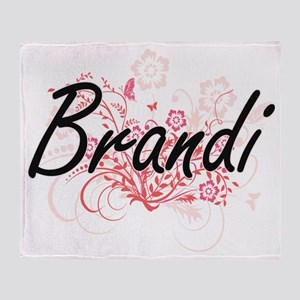 Brandi Artistic Name Design with Flo Throw Blanket