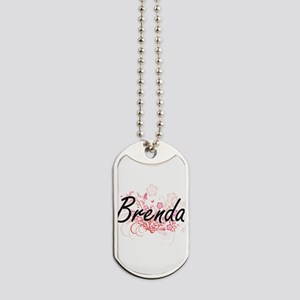 Brenda Artistic Name Design with Flowers Dog Tags