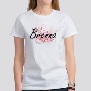 Brenna Artistic Name Design with Flowers T-Shirt