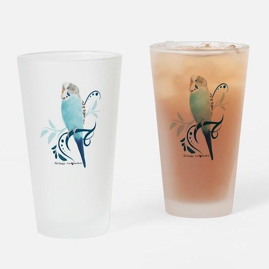 Blue Parakeet Drinking Glass
