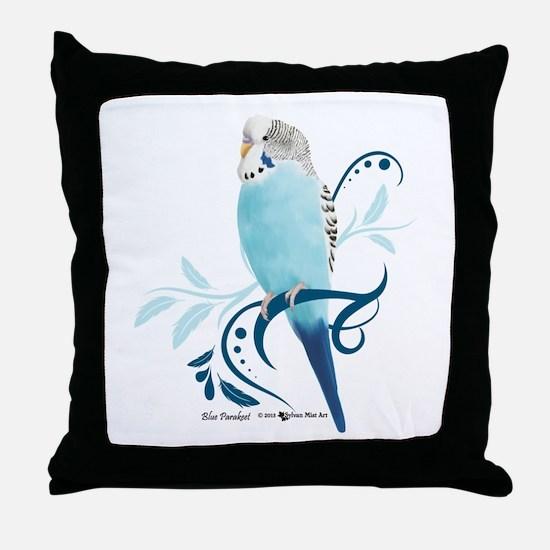 Blue Parakeet Throw Pillow