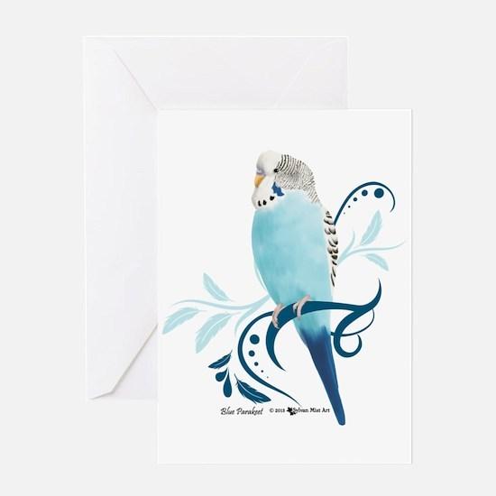 Blue Parakeet Greeting Cards