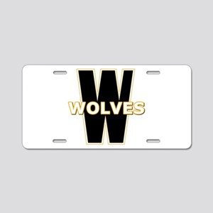 W Wolves Aluminum License Plate