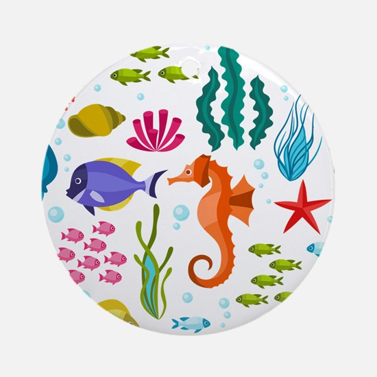 Colorful sea life and animals cute Round Ornament
