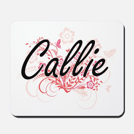 Callie Artistic Name Design with Flowers Mousepad