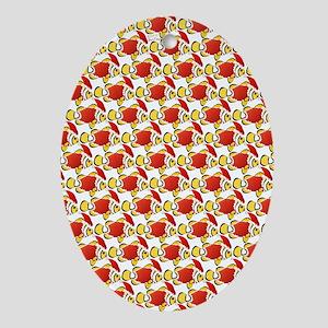 Christmas Clownfish Pattern Oval Ornament