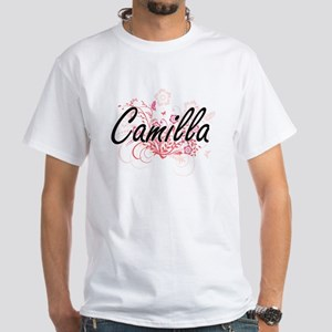Camilla Artistic Name Design with Flowers T-Shirt