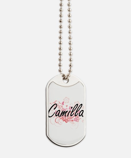 Camilla Artistic Name Design with Flowers Dog Tags