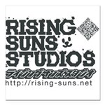 Risingsuns Studios J Black Square Car Magnet 3