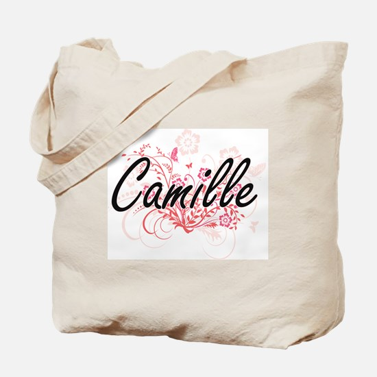 Camille Artistic Name Design with Flowers Tote Bag