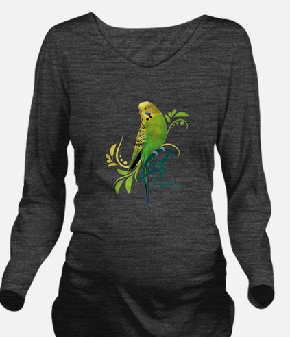 Green Parakeet Long Sleeve Maternity T-Shirt