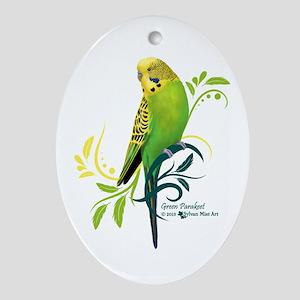 Green Parakeet Oval Ornament