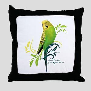 Green Parakeet Throw Pillow