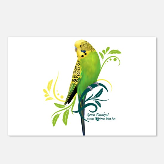 Green Parakeet Postcards (Package of 8)