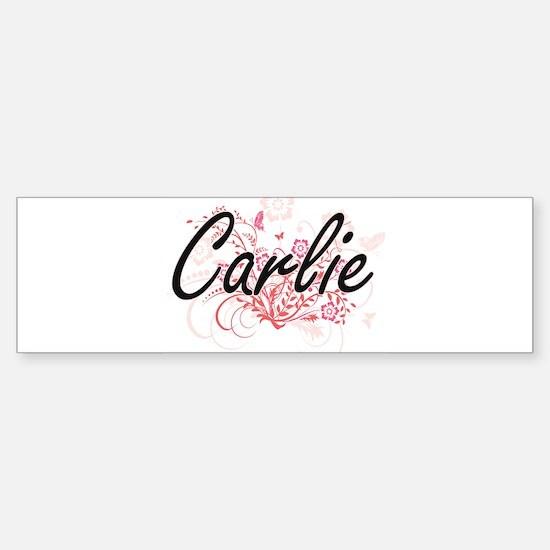 Carlie Artistic Name Design with Fl Bumper Bumper Bumper Sticker