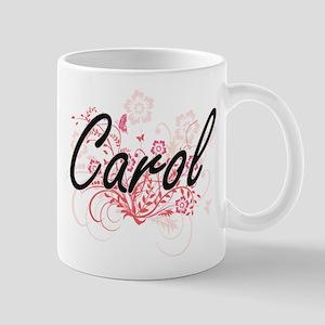 Carol Artistic Name Design with Flowers Mugs